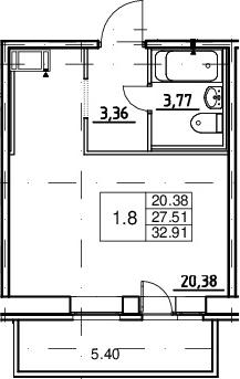 Студия, 27.51 м², от 16 этажа
