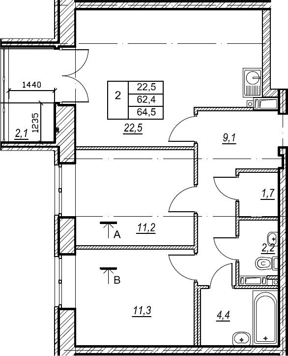 2-комнатная, 64.5 м²– 2