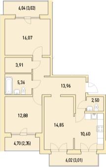 3-к.кв, 96.74 м²