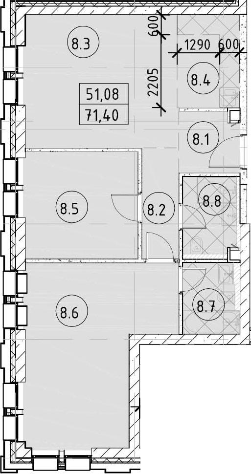 3-к.кв (евро), 71.4 м²