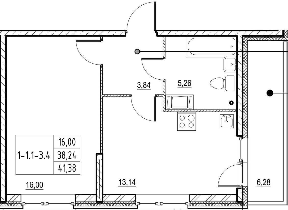 1-к.кв, 41.38 м²