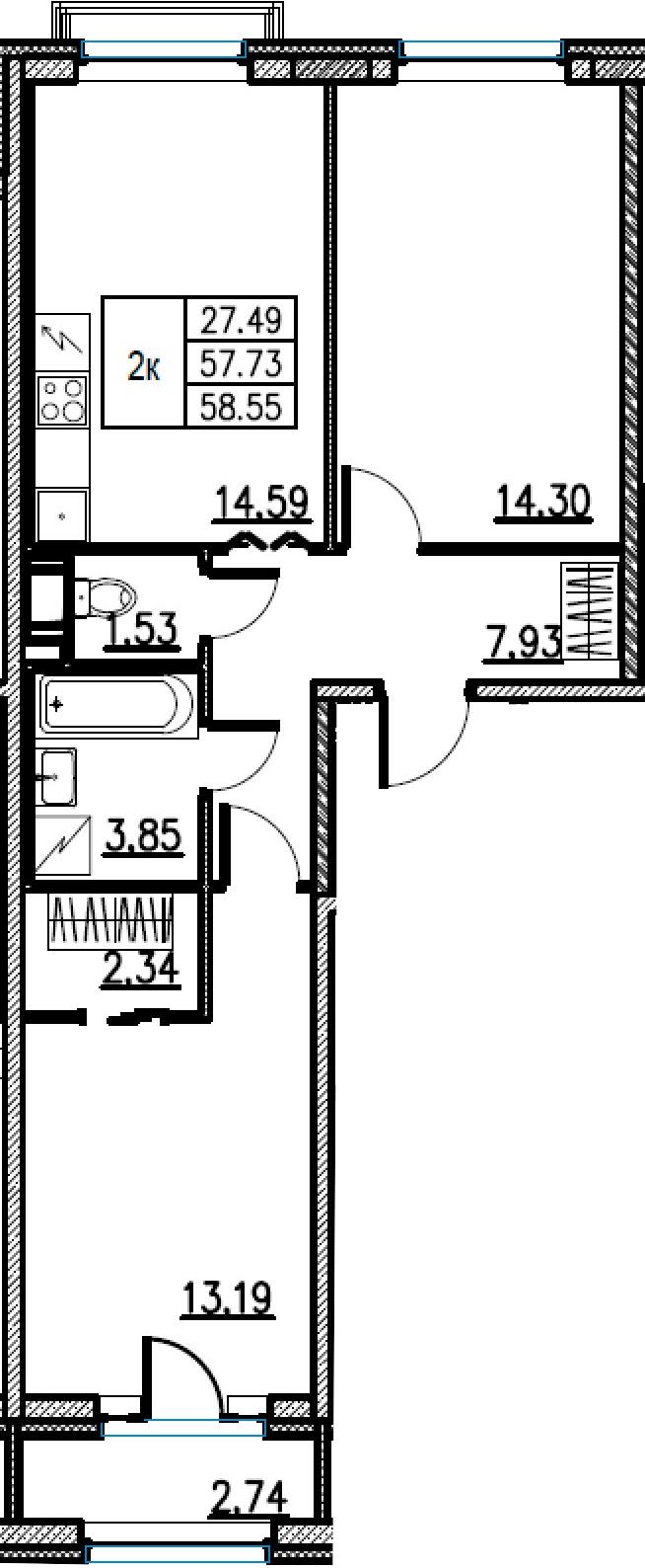 2-комнатная, 58.55 м²– 2