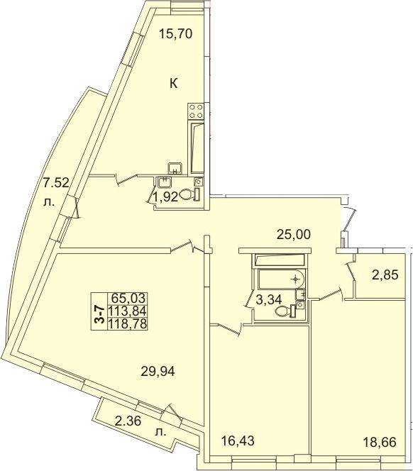 4-к.кв (евро), 123.42 м²