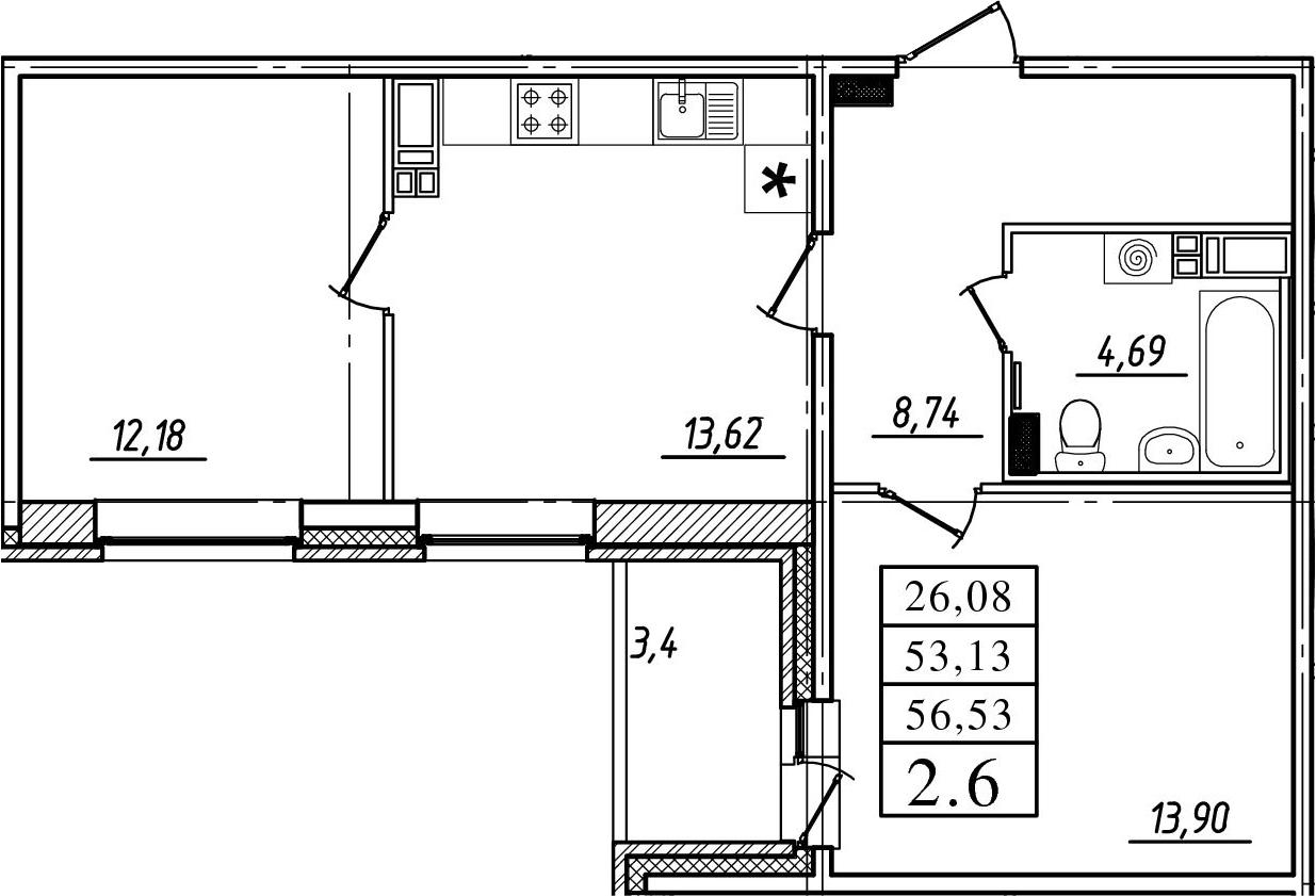 2-комнатная, 53.13 м²– 2