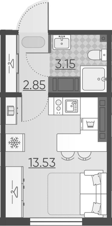Студия, 19.53 м², 17 этаж