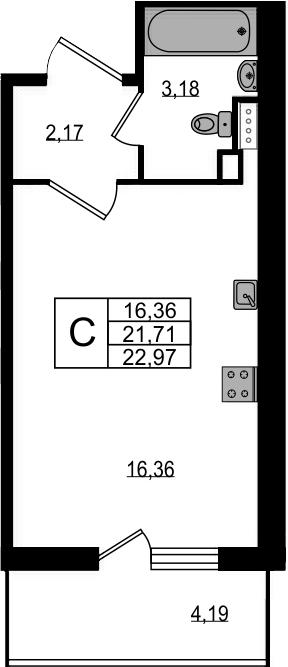 Студия, 22.97 м²