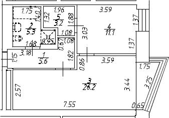 2Е-комнатная, 51.4 м²– 2