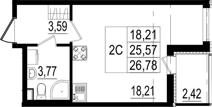 Студия, 25.57 м², 2 этаж – Планировка