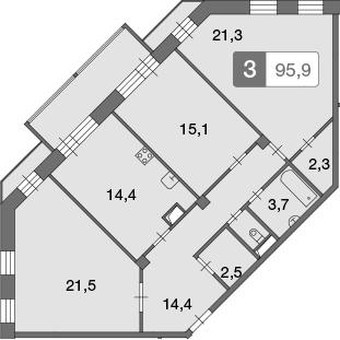 3-к.кв, 95.9 м²