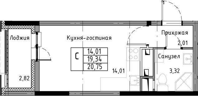 Студия, 20.75 м², от 6 этажа