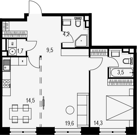 2-комнатная, 67.3 м²– 2