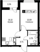 2Е-комнатная квартира, 37.76 м², 18 этаж – Планировка