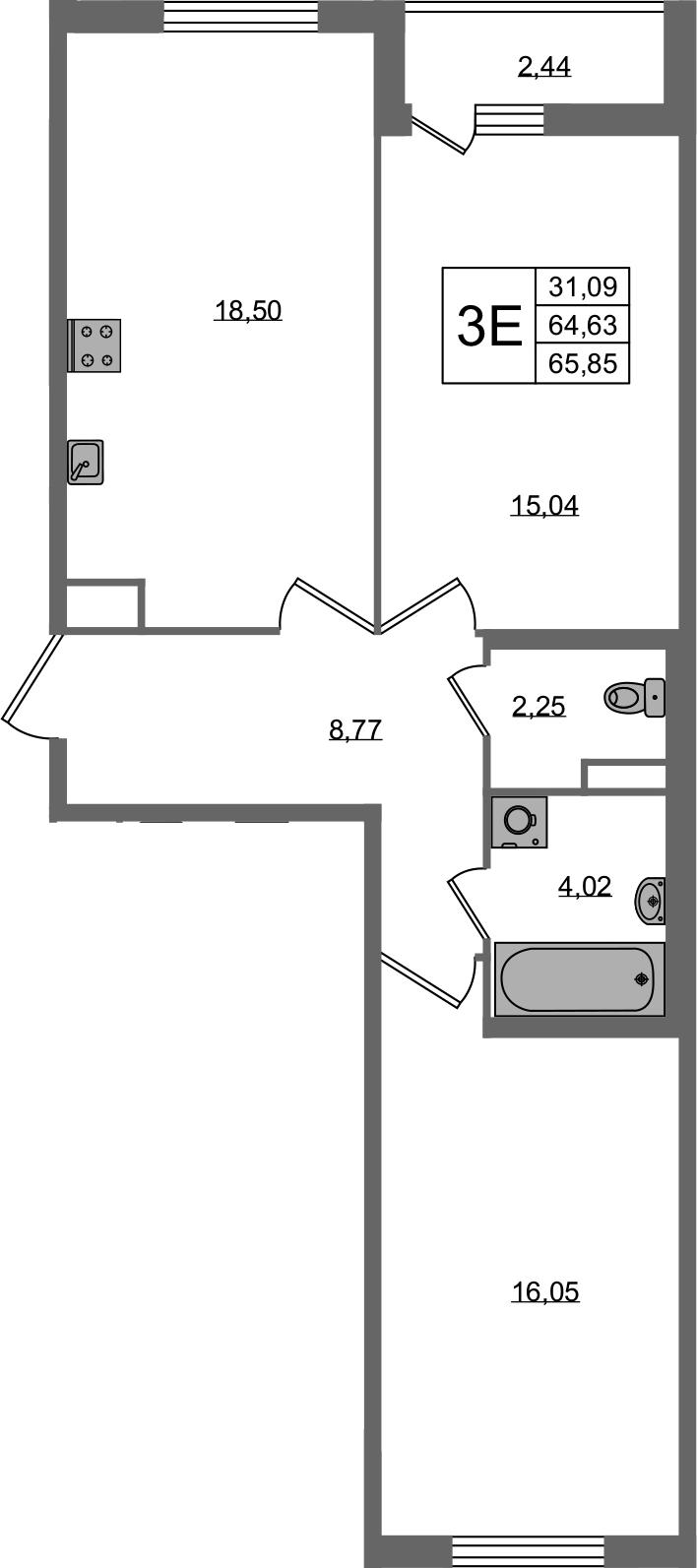 3Е-к.кв, 64.63 м², 2 этаж