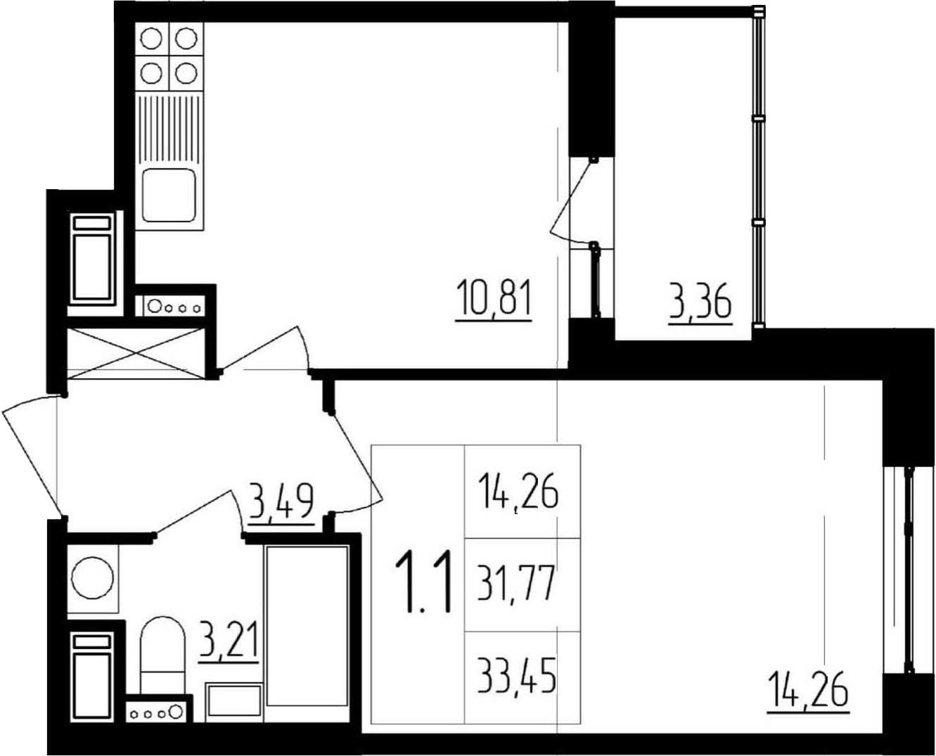 1-к.кв, 31.77 м²