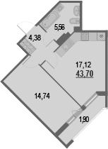 2-к.кв (евро), 45.6 м²