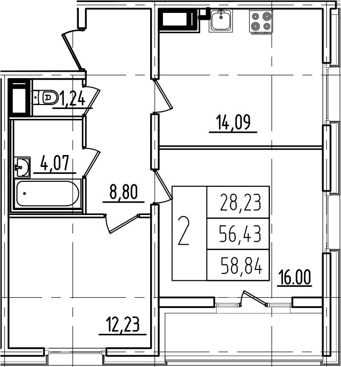 2-к.кв, 58.84 м², 6 этаж