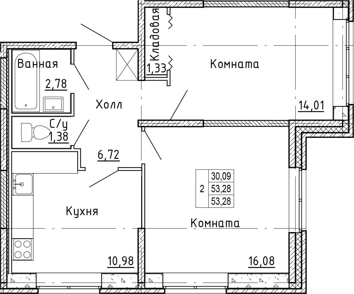 2-к.кв, 53.28 м²