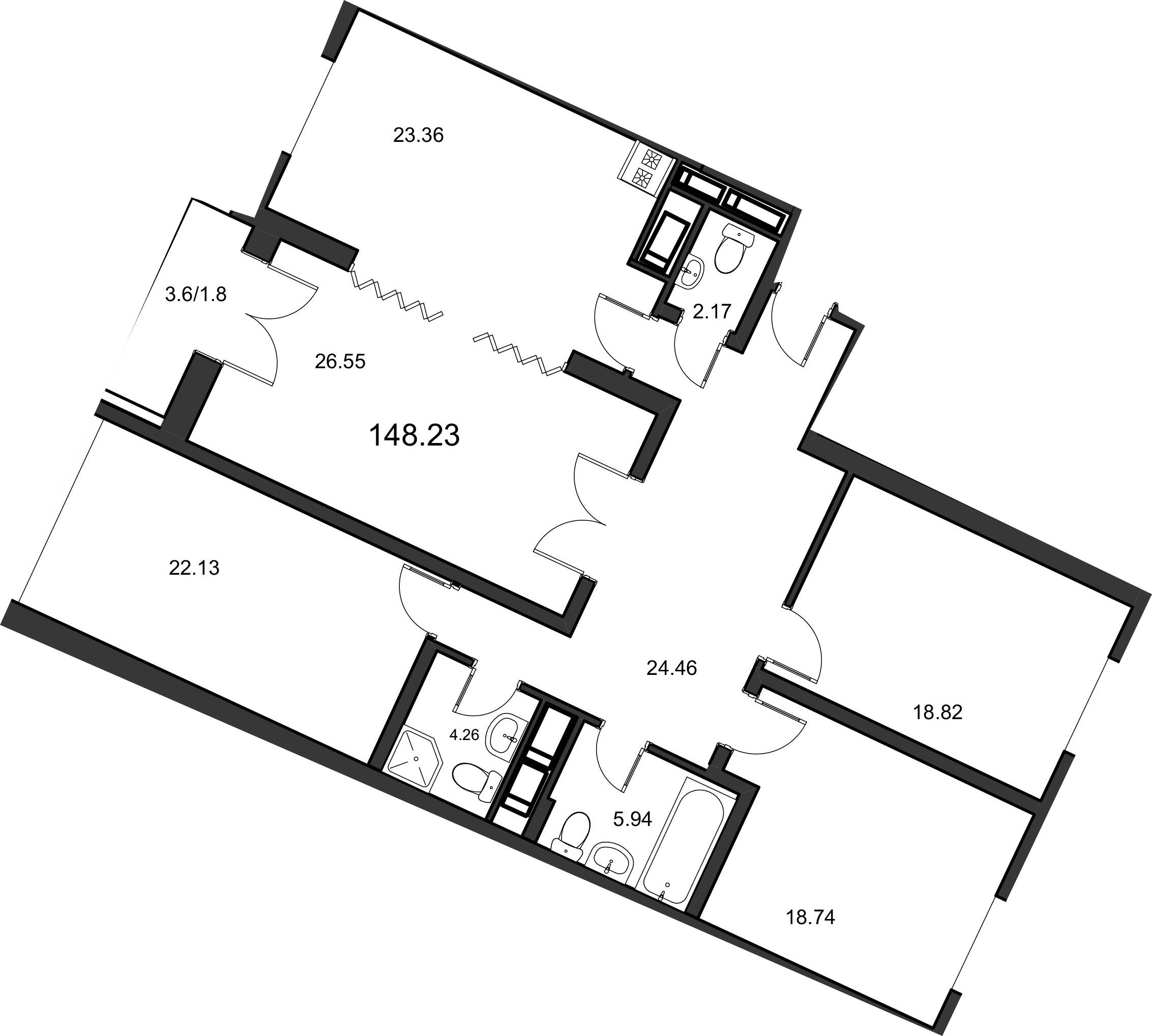 4-к.кв, 147.9 м²