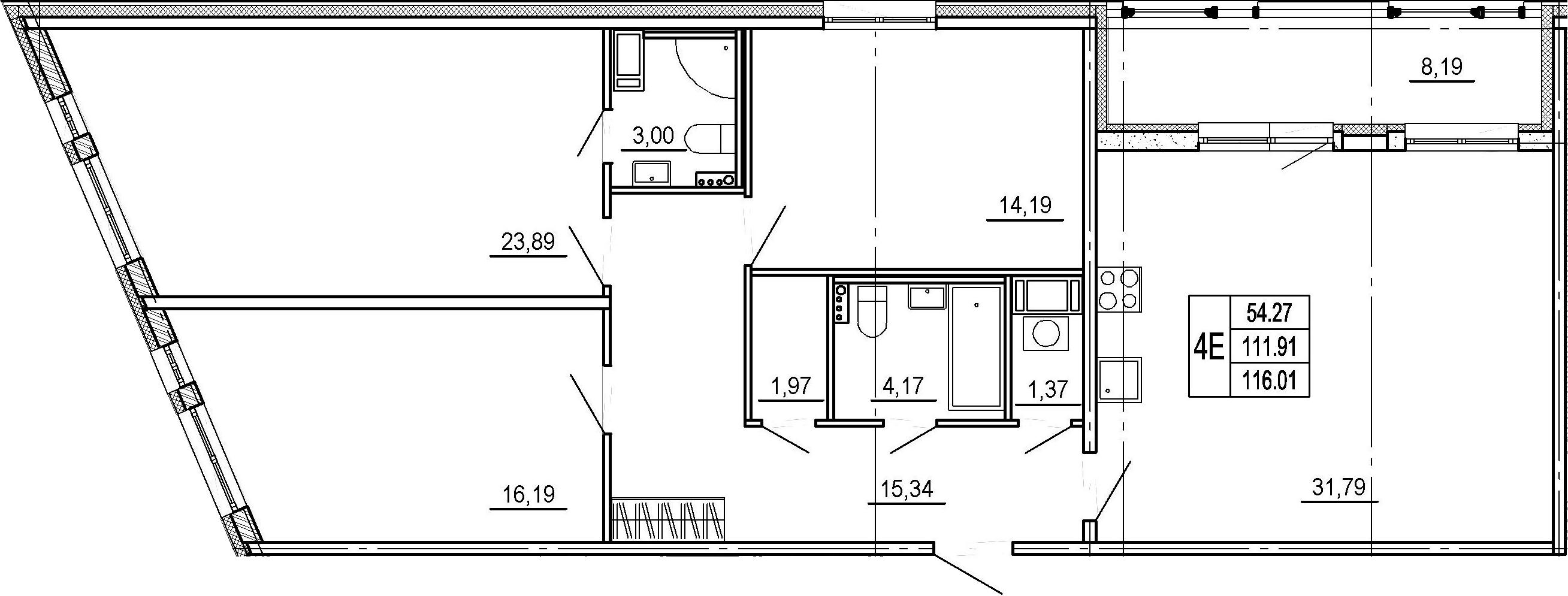 4Е-к.кв, 111.91 м², 4 этаж
