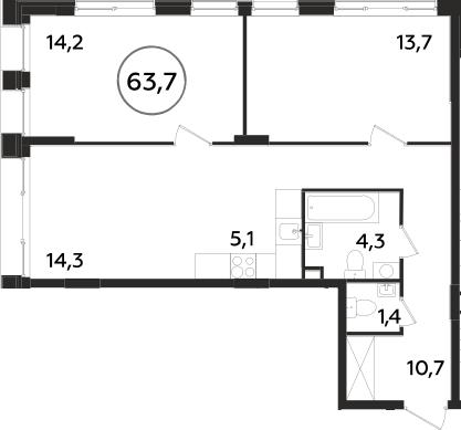 2-к.кв, 63.7 м²