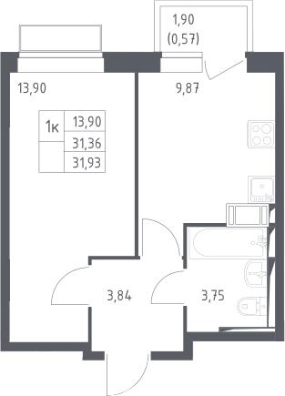 1-комнатная, 31.36 м²– 2