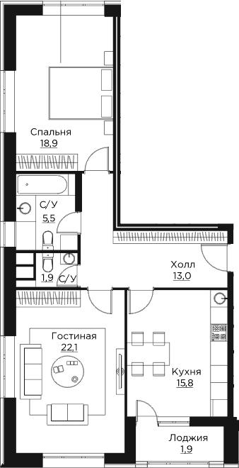 2-к.кв, 79.1 м²