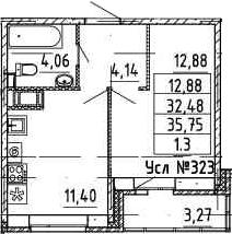 1-к.кв, 35.75 м²