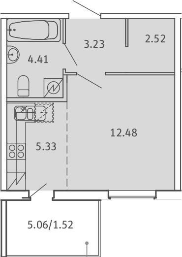 Студия, 29.49 м², 1 этаж