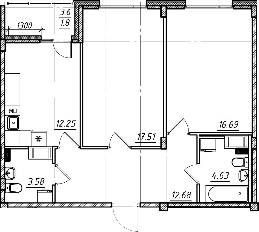 2-комнатная, 69.14 м²– 2