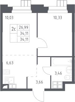 2Е-комнатная, 34.11 м²– 2