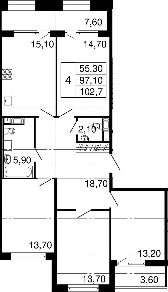 4-комнатная, 97.1 м²– 2