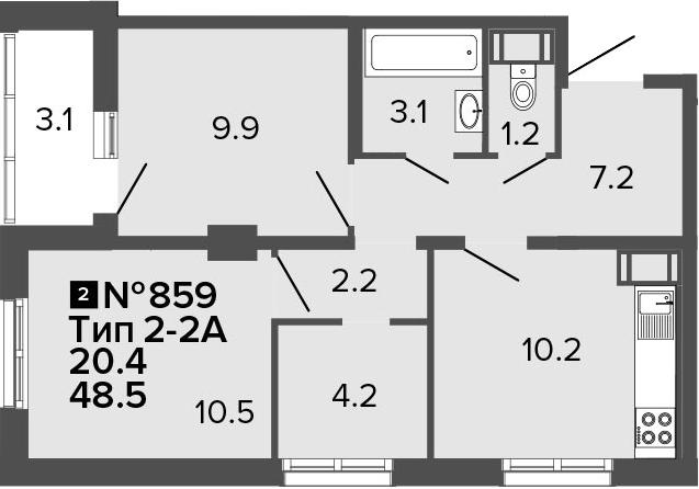 2-к.кв, 48.5 м²