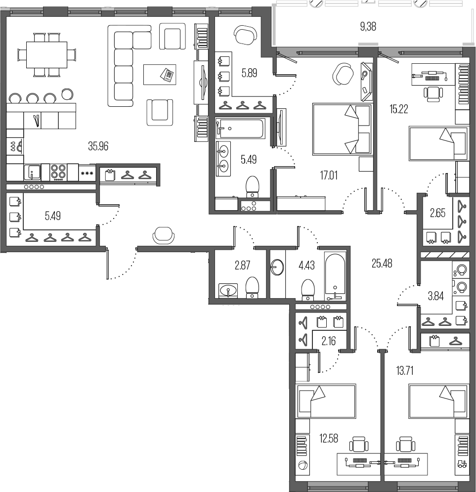 5Е-комнатная, 152.78 м²– 2