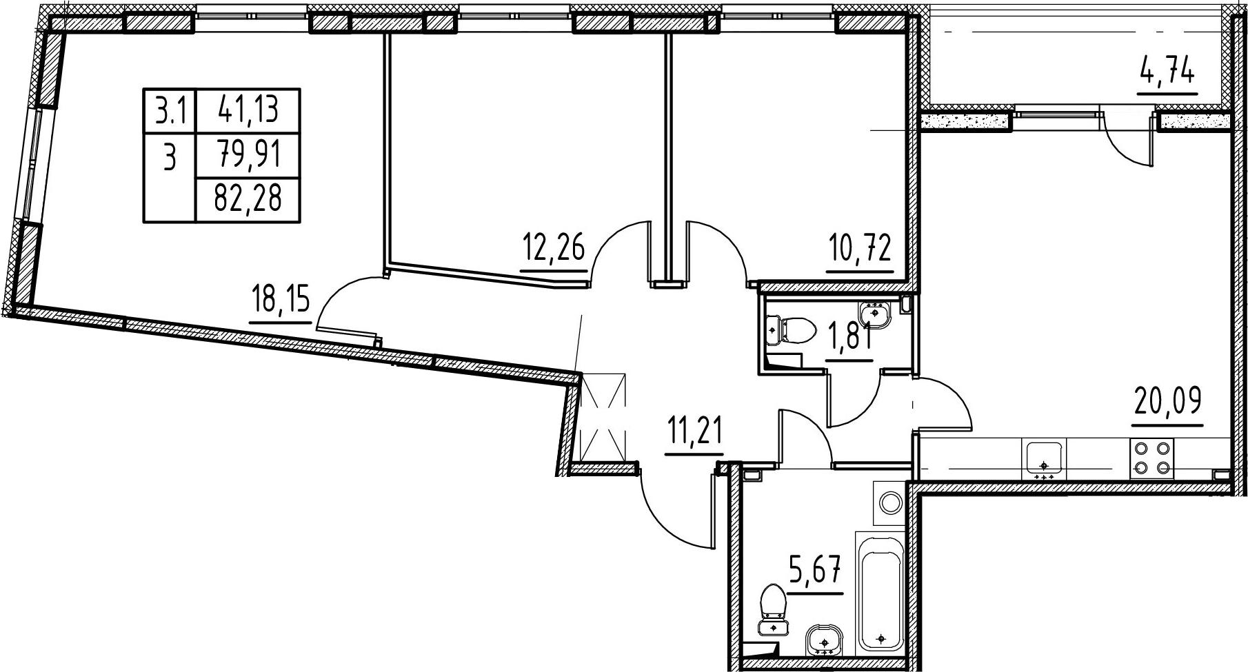 3-к.кв, 79.91 м²