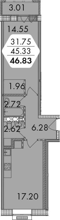2-к.кв (евро), 48.33 м²