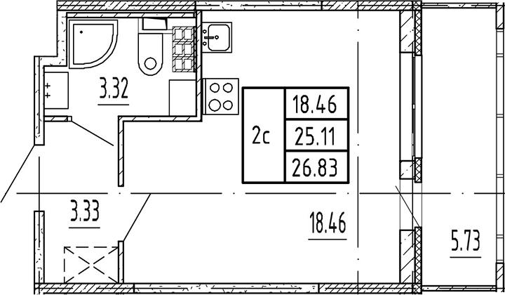 Студия, 25.11 м²– 2