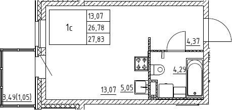 Студия, 27.83 м²– 2
