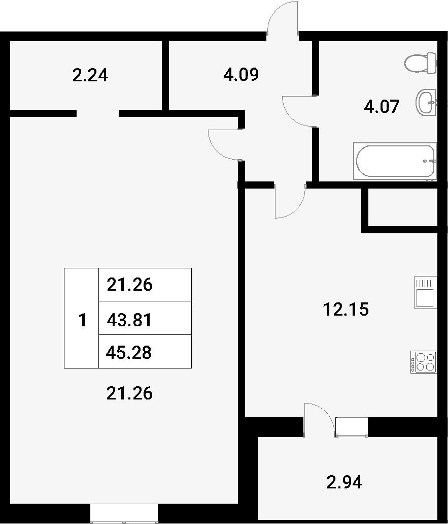1-к.кв, 45.28 м²