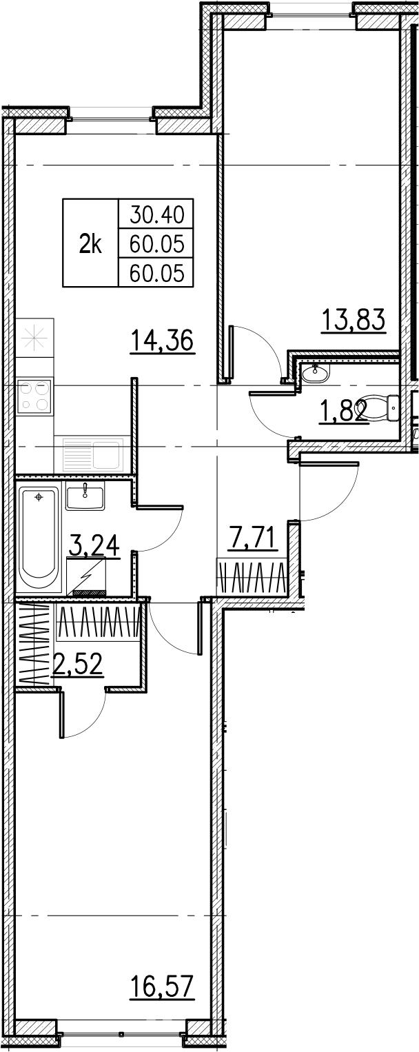 2-комнатная, 60.05 м²– 2