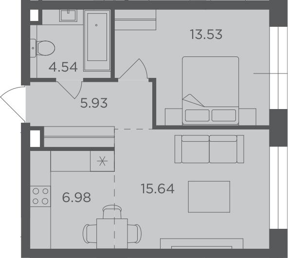 2Е-комнатная, 46.62 м²– 2