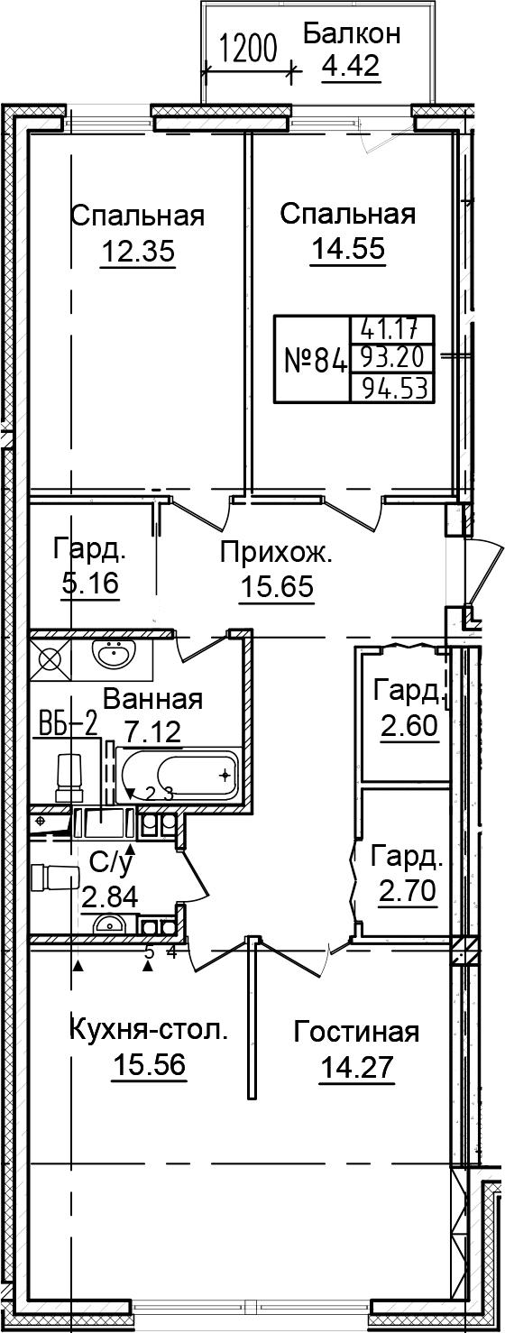 4Е-к.кв, 94.53 м²