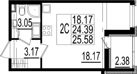 Студия, 24.39 м², 2 этаж