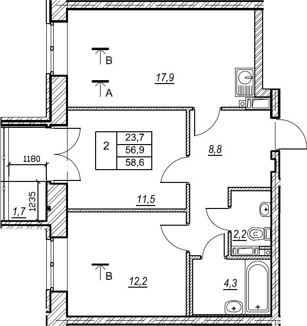 2-к.кв, 58.6 м², 5 этаж