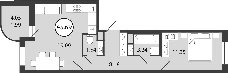 2Е-комнатная, 45.69 м²– 2