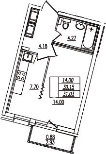 1-комнатная, 31.03 м²– 2