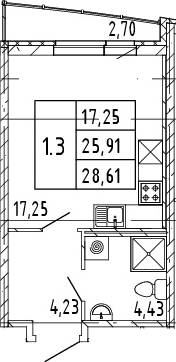 Студия, 25.91 м²– 2
