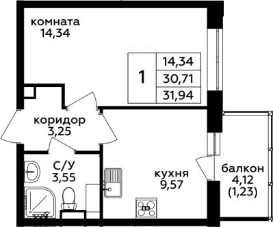 1-к.кв, 31.94 м²