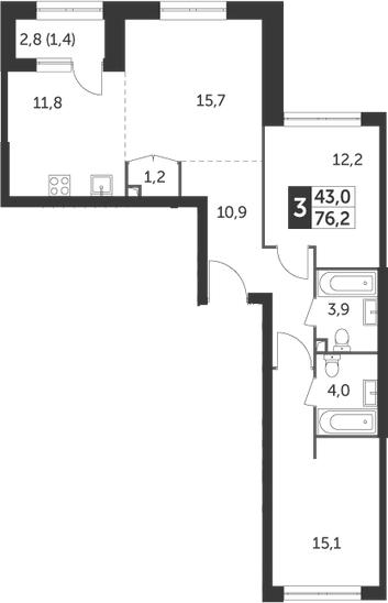 3Е-комнатная, 76.2 м²– 2