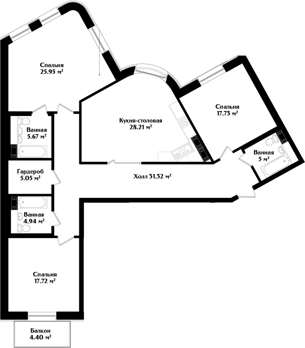 4Е-к.кв, 142.91 м², 3 этаж