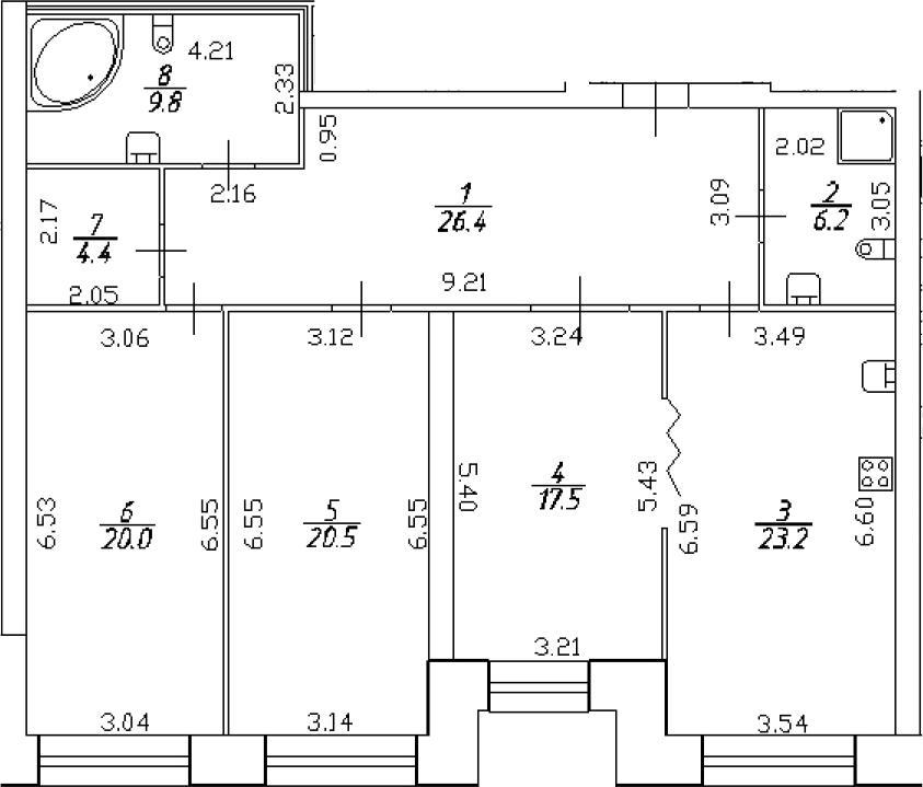 4-к.кв (евро), 128 м²